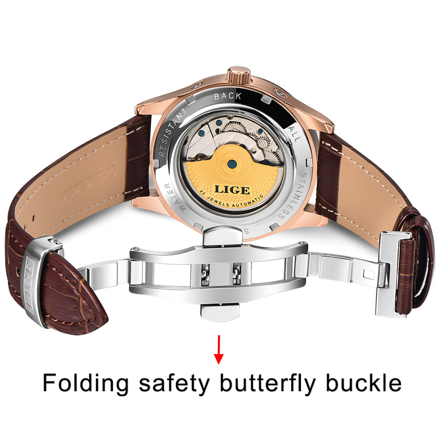LIGE Brand Classic Mens Retro Watches Automatic Mechanical Watch Tourbillon Clock Genuine Leather Waterproof Military Wristwatch 4
