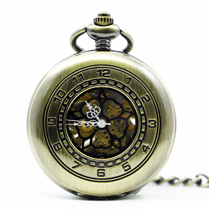 Fashion Vintage Hollow Case With Arabic Numerals Case Skeleton Dial Mechanical Pocket Watches Fob Chain For Men Women PJX1294