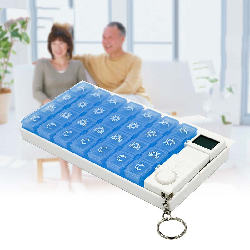Portable Electronic Pill Cases Travel Old people Timing Reminder Alarm Medicine Storage Box 7 Days Weekly Drug Capsule Organizer ...