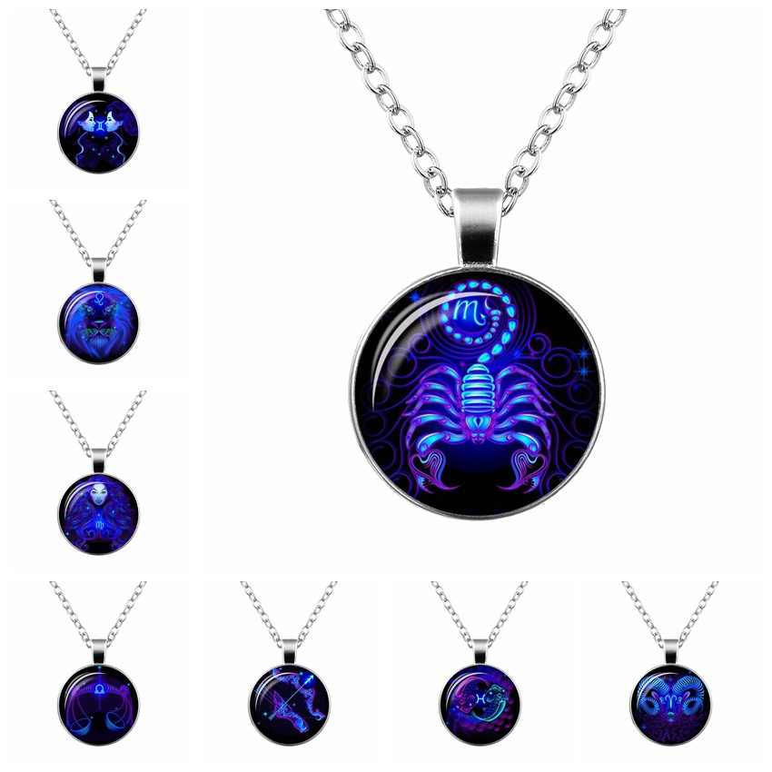 12 Zodiac Sign Pendant Necklace Galaxy Constellation Design Horoscope Astrology Necklace For Women Men Glass Cabochon Jewelry