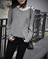 sweater and pullovers jumper triped wool sweater for women runway sweaters with button