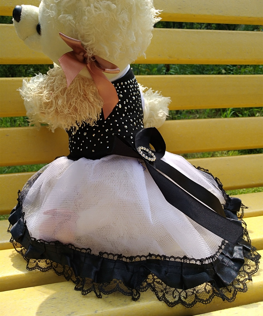 Cute Fabric Skirt for Dogs Birthday Party Dress for Pet Shop New Year Christmas Chihuahua Dog Clothes Lace with Ribbon Small S M