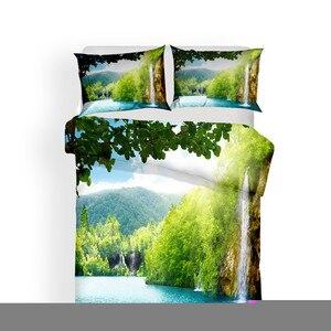 Image 2 - מצעי סט 3D מודפס שמיכה כיסוי מיטת סט יער מפל בית טקסטיל מצעי מבוגרים עם ציפית # SL06