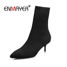 Enmayer Women Ankle Boots Fashion Shoes Size 34-39 Causal High Heels Thin Pointed Toe Slip on Knitting boots CR1410