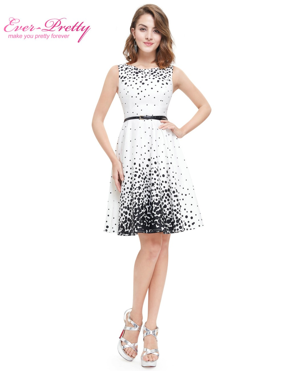 Ever Pretty 2017 New Summer Short Homecoming Dresses He05446Wb White Sweetheart Polka -2489