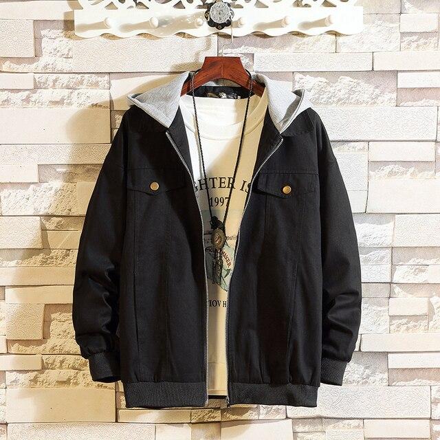 2018 New Autumn Men s Jacket Patch Hat Black Army Green Jacket Coat Men  Letter Printing Casual Hooded Windbreaker Jacket Male 68d9bdf8d05