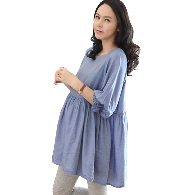 Large Size T-Shirt Maternity Dress Elegant Pure Blue Dress For Pregnant  Women Maternity Clothes Pregnancy Clothes e8c2566d2c84