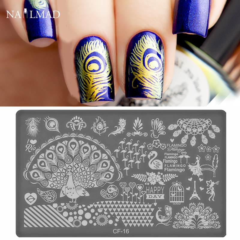 1pc Peacock Feather Nail Stamping Template Lace Flowers Stamping