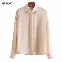 BLSQR Women Elegant Fake Diamond Decorate Chiffon Shirt Side Split Pleated Loose Blouse Lady Office Wear