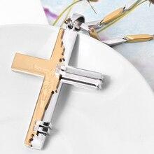 2015 nuevos hombres de la alta calidad de acero inoxidable 316L cruz colgante collares declaración de joyería de lujo de oro y plata envío gratis IR534