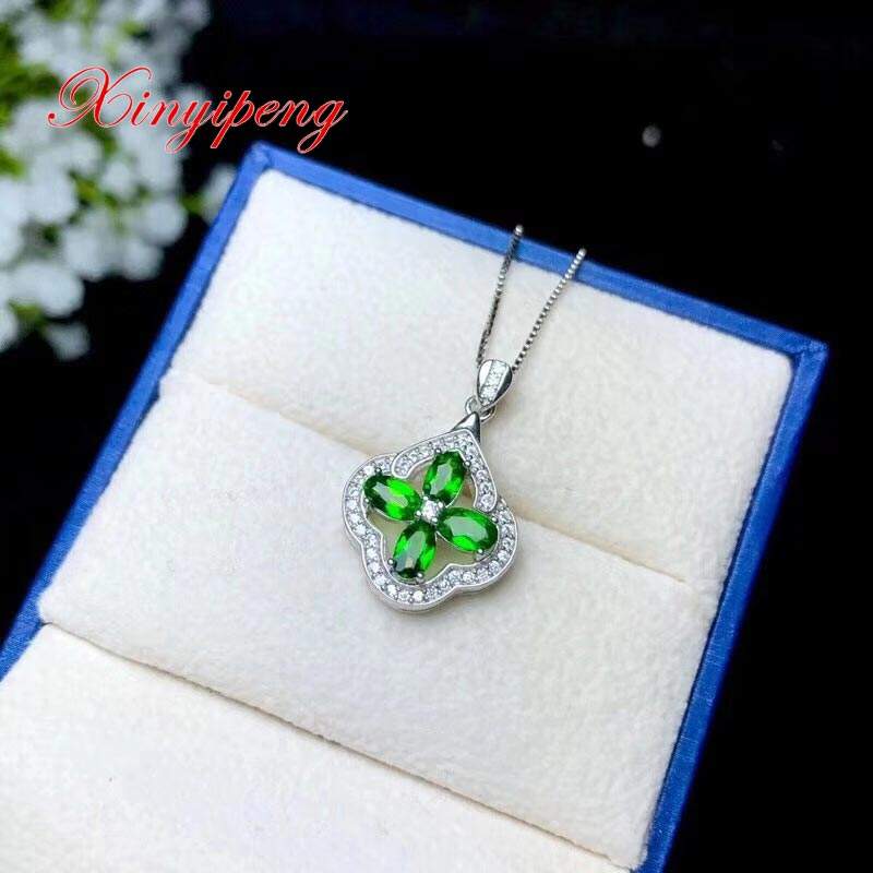 Xin yi peng 925 silver plated gold inlaid natural diopside pendant necklace beautiful women anniversary birthday giftXin yi peng 925 silver plated gold inlaid natural diopside pendant necklace beautiful women anniversary birthday gift