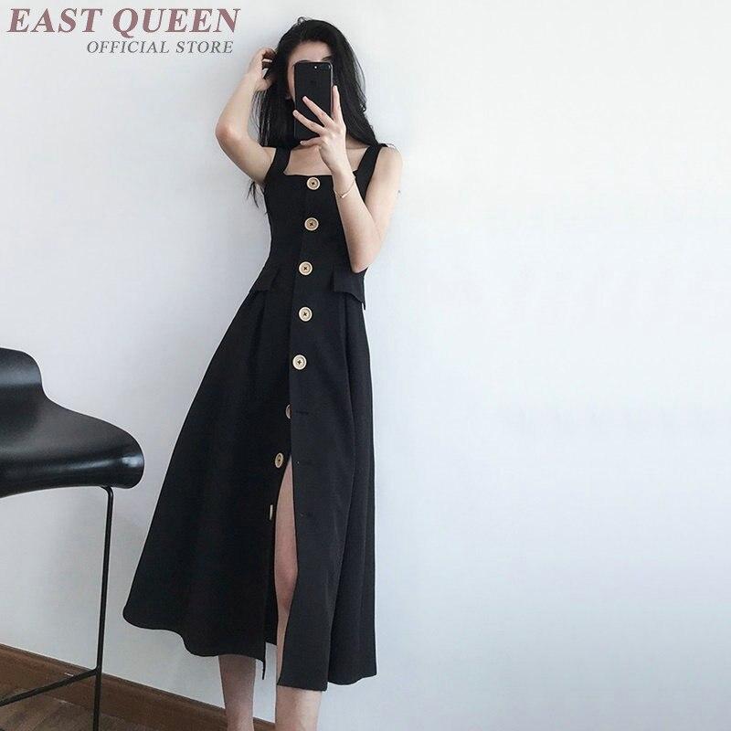 Dresses 2018 spaghetti strap party women roman empire slash neck button sexy split bodycon long sexy dress 2018 AA3744 Y A