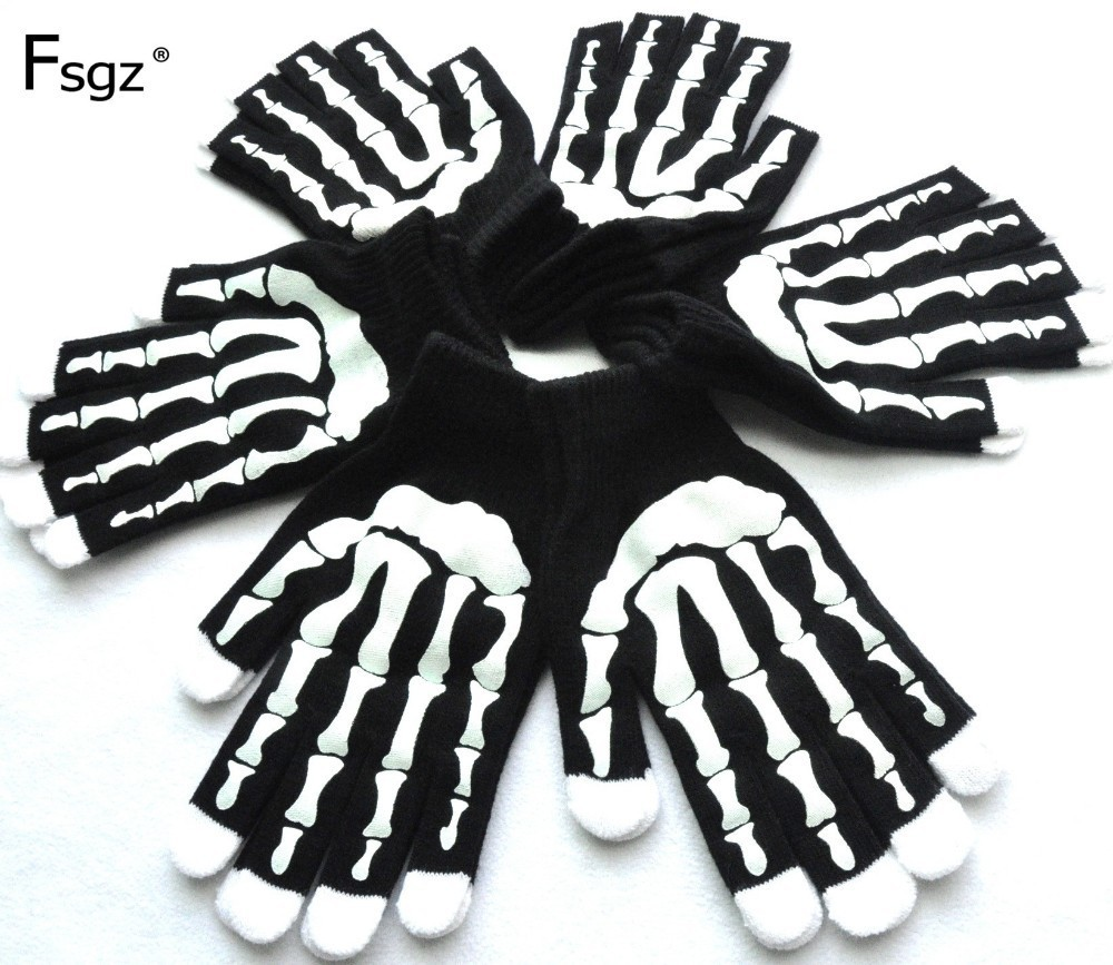Winter Gloves For Men Soft Knitted Skeleton Hands Print Pattern Glove Hip Pop Young Men Warm Thicken Gloves Good Quality 2019