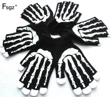 Winter Gloves For Men Soft Knitted Skeleton Hands Print Pattern Glove Hip Pop Young Warm Thicken Good Quality 2019