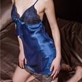 HOT Sexy Lingerie Women Ladies V Neck Silk Nightgowns Lace Night Dress Satin Sleepwear Babydoll pijama Nightwear chemise de nuit