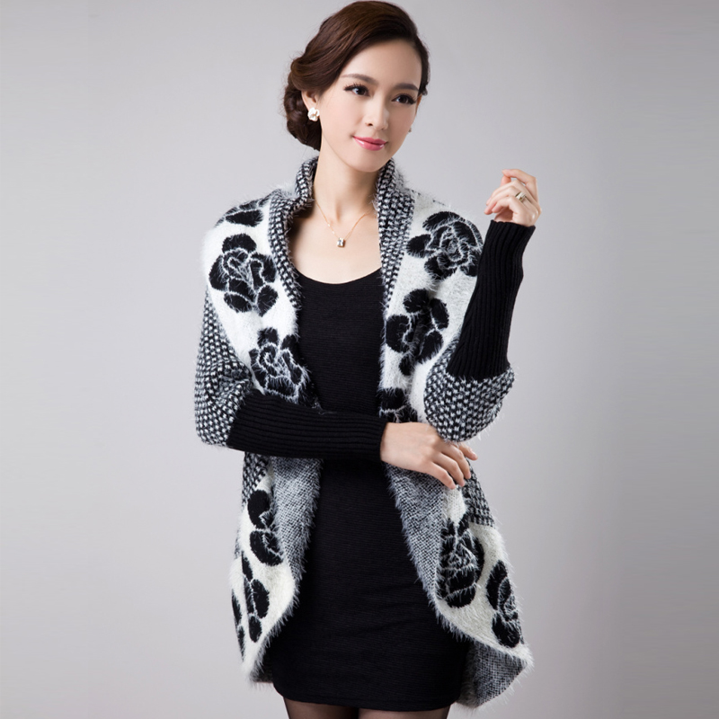 New Autumn Spring Women's Sweater Cardigans Casual Warm Kvinnlig Stickad tröja Flower Cardigan Sweater Lady
