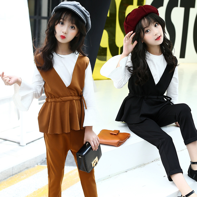 Teen Girls Clothing Sets Spring Black Brown Baby Girls Pants Set 3 Pcs Ruffles Vest T Shirts Pants Kids Clothes Suits 2018 summer kids fashion girls clothing sets 2 pcs chiffon shirts pants suits for teenage girls clothes sets ensemble fille 12
