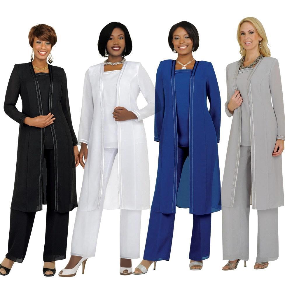 Elegant Long Sleeve Mother of The Bride Pant Suit 2019 Plus Size Chiffon Formal Evening Dresses Long Vestidos De Madrina