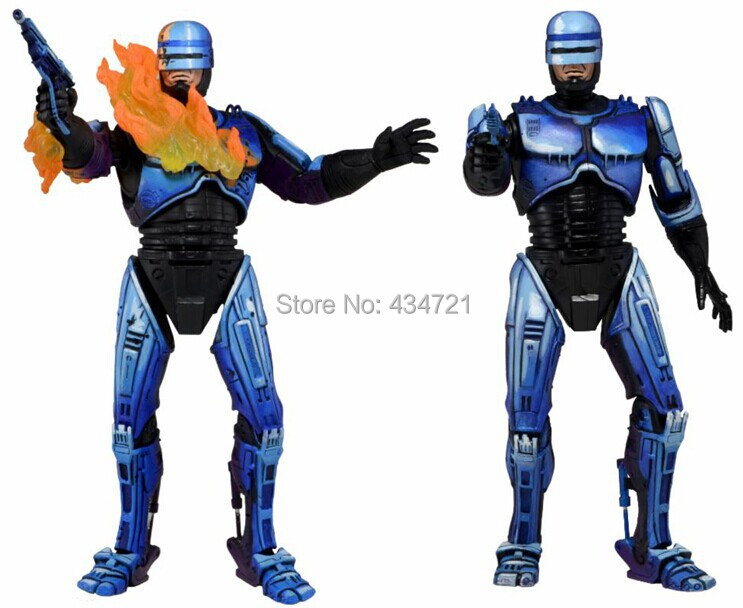 ФОТО Hot Classic Sci-Fi Film Game Robocop VS Terminator NECA Series 2 Battle Damaged & Flamethrower 18CM Action Figure Toys Box