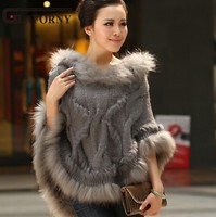 2018 Spring Autumn Rabbit Fur Cape Knitted Fur Poncho with Raccoon Fur Trimming Women's Sweatercoat Free Shipping