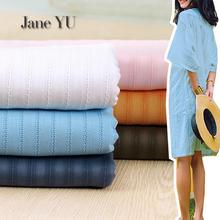 JaneYU Jacquard Striped Fabric All Cotton White Pink Blue Spring And Summer Thin Soft Skirt Shirt