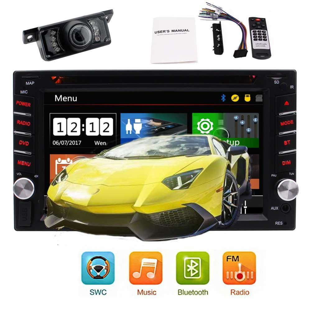 Rear Camera+Wince Car Stereo in dash 2 din Automotive Autoradio Bluetooth Car dvd player Double Din 6.2 inch Video FM/AM Radio joyous j 2611mx 7 touch screen double din car dvd player w gps ipod bluetooth fm am radio rds