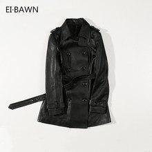 2018 Autumn Women Fashion Jacket With Buttons Genuine Leather Black Lapel Belt Design Real Sheepskin Outwear Jacket for Women