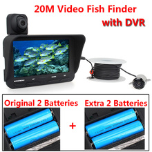 20m Professional Night Vision Fish Finder DVR Video 6 Infrared LED Underwater Fishing Camera+Overwater Camera+Extra 2 Batteries