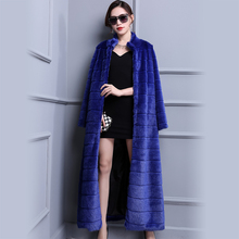 Nerazzurri Extra Long Duster Faux Fur Coat Blue Warm Luxury Fashion 2018 Runway Plus Size Winter Fake Mink Fur Overcoat 5xl 6xl
