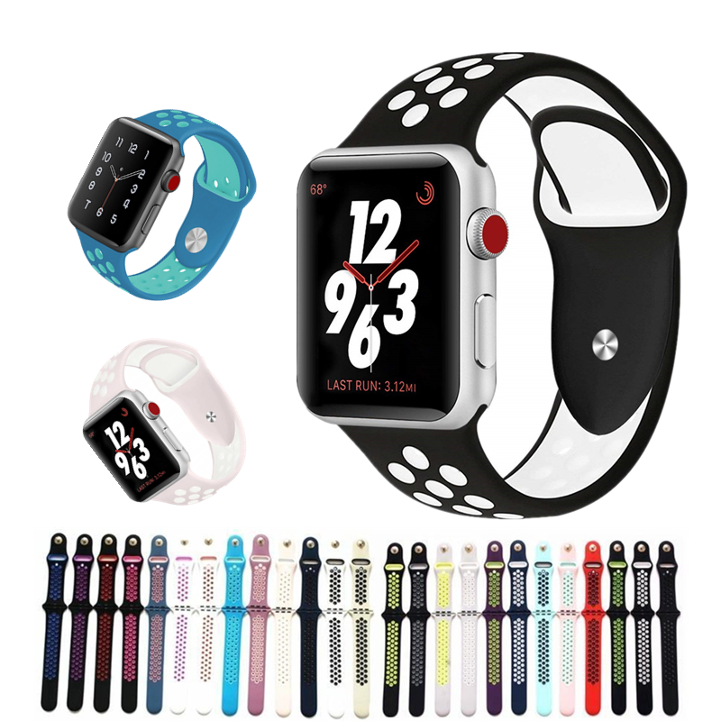 Silicone strap for apple watch Series 4 band 38mm 42mm 40mm 44mm Bracelet Watchband wrist watch belt bands for iwatch 3/2/1 soft silocone sport band for apple watch bands series 4 44mm 40mm wrist bracelet strap for iwatch 3 2 1 belt 42mm 38mm watchband