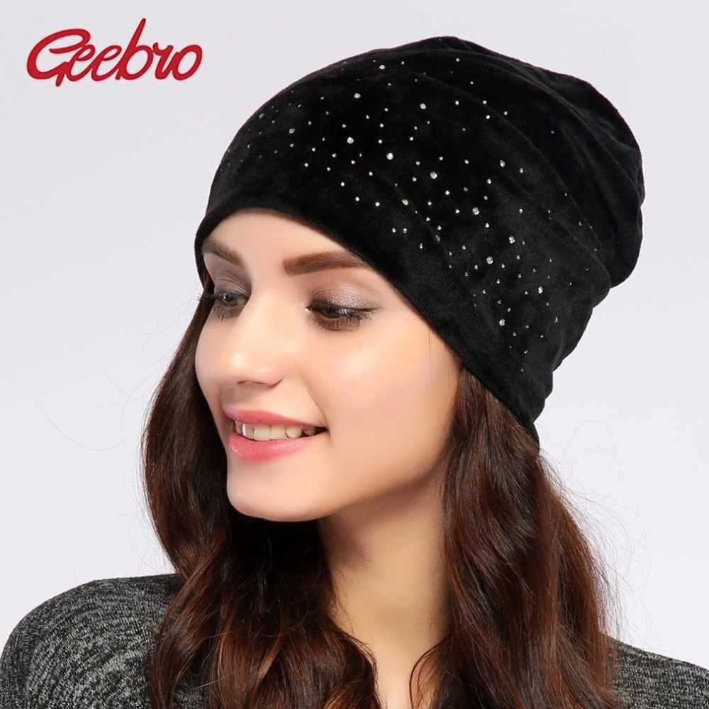 54068ea408af2 Geebro Brand New Women s Beanie Hat Casual Velvet Slouchy Beanie For Women  Rhinestones Skullies Beanies Balaclava