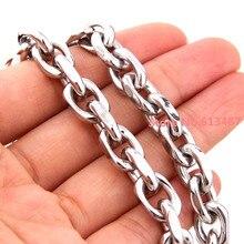 Мода 7-40 дюймов размер на заказ 8 мм в ширину 316L Нержавеющая Женская мужская Серебряная звеньевая цепочка ожерелье/браслет овальная цепочка Ювелирные изделия