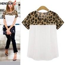 61117e59 2019 New Women Summer T Shirt Leopard Print Patchwork Chiffon T-shirt  Female Summer Short
