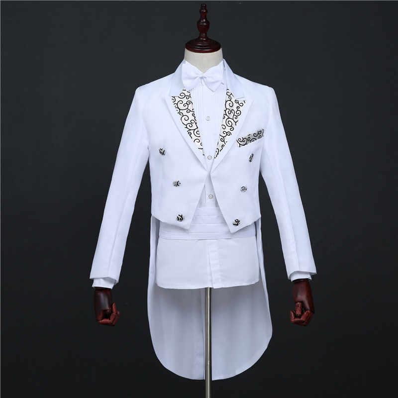 メンズ白アゲハチョウ衣装ジャズダンサーのパフォーマンスステージ衣装ナイトクラブホスト歌手ベルカントマジシャンの衣装