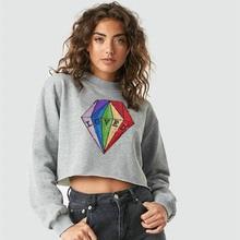 NiceMix 2019 Diamond Sequin Sweatshirt Women Crop Top Long Sleeve Shirt Women Letter LOVED shirts Women Loose Tee Shirt Femme недорого