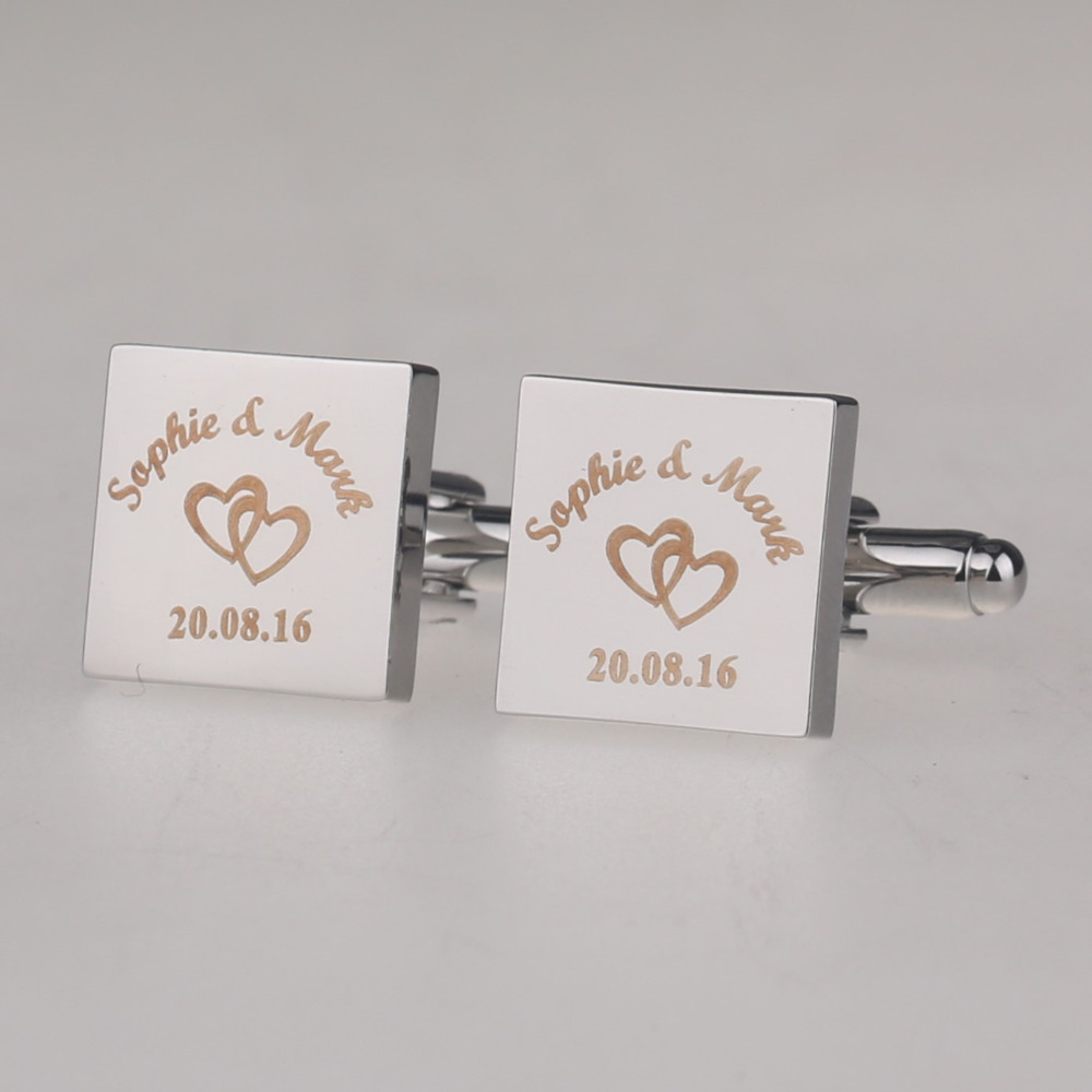 Personalized Mens Shirt Cufflinks Sliver Square Customized Cufflink Wedding Gifts for Groom Laser Engraved LOGO Gemelos Jewelry