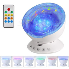 LED Nightlight With USB Remote Control TF Cards Control 7 Light Ocean Wave Music Player Speaker Cosmos Star Luminaria Room Decor