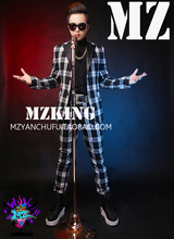 Men's swimsuit black white plaid leather-based collar fits male singers dj dancer stage blazer formal gown occasion swimsuit costumes !