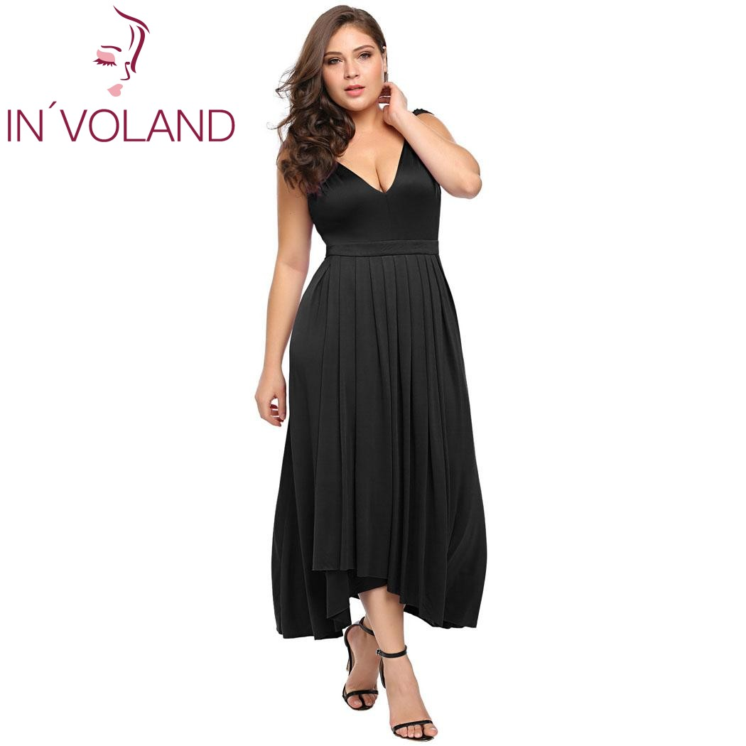 IN VOLAND Women Party Long Dress Plus Size XL-6XL Sexy Double V-Neck  Sleeveless Pleated Long Large Maxi Dresses Robe Big Size 871b2585fe1d