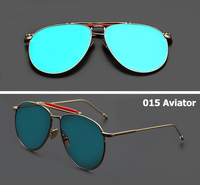 2016 Fashion Brand Popular Style 015 Aviator Sunglasses Men Women Flat Mirror Lens Sun Glasses Oculos