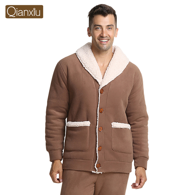 Qianxiu Brand Pajamas Winter Thicken Casual  Pajama Set Plus Size Women and Men Cardigan Lounge Wear