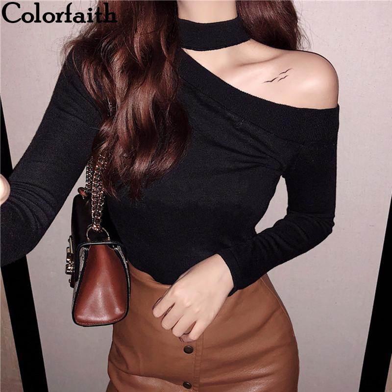 Colorfaith Women Pullovers Sweater 2019 Knitted Autumn Spring Fashion Bottoming Sexy Off The Shoulder Elegant Ladies Tops SW9989