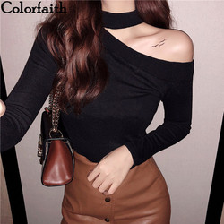 Colorfaith Women Pullovers Sweater 2019 Knitted Autumn Spring Fashion Bottoming Sexy Off the Shoulder Elegant Ladies Tops SW9989 1