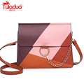 Fashion Chains Women Messenger Bags High Quality PU Leather Ladies Shoulder Bagss Multi Patchwork Female Ring Crossbody Bags