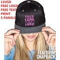 Пользовательские Snapback Hat 5 Панелей Бесплатный Логотип Текст Фото Печати Мужчины Женщины Дети Персонализированные Хип-Хоп Моды Команда Семьи Бесплатная Доставка