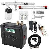 OPHIR Pro Аэрограф Комплект с воздушным компрессором двойного действия Аэрограф пистолет для хобби Косметика Макияж тела Paint_AC003H + 093 + 011