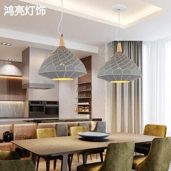الشمال قلادة أضواء للمنزل الإضاءة الحديثة مصباح معلق خشبية الألومنيوم عاكس الضوء LED لمبة غرفة نوم ضوء مطبخ 90-260 فولت E27