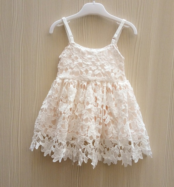 New Baby Girls Crochet Lace Dresses 2016 Kids Girl Hallow Out