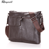 RAYCELL Famous Brand Leather Men Bag Casual Black Bolsas Male Business Leather Mens Messenger Bag Vintage