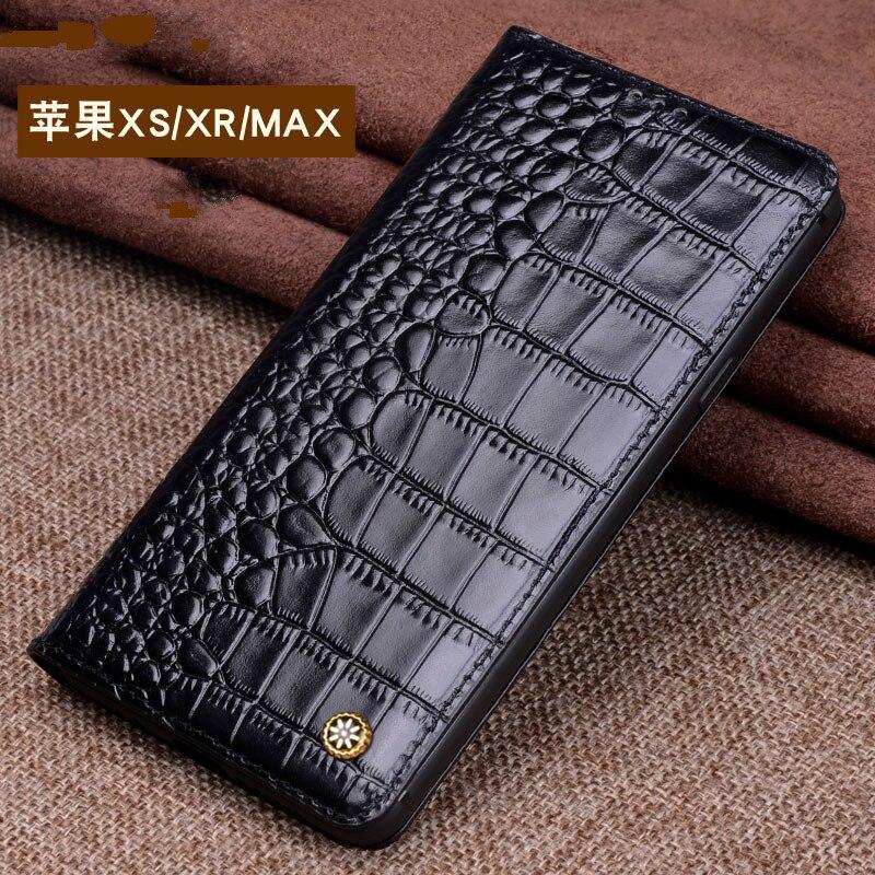 Luxe Marque D'origine Véritable Crocodile En Cuir Téléphone Cas pour IPhone XS XR Cas Mode Téléphone Sacs pour IPhone XS MAX cas